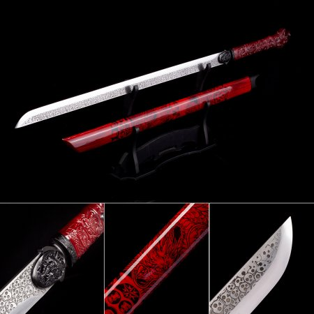 Handmade High Manganese Steel Real Japanese No Guard Ninjato Ninja Swords With Red Scabbard