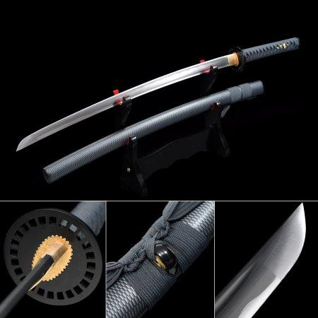 Handmade 1060 Carbon Steel Blade Real Japanese Katana Samurai Sword With Black Scabbard