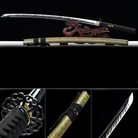 Handmade T10 Carbon Steel Green Saya Full Tang Real Japanese Katana Samurai Swords