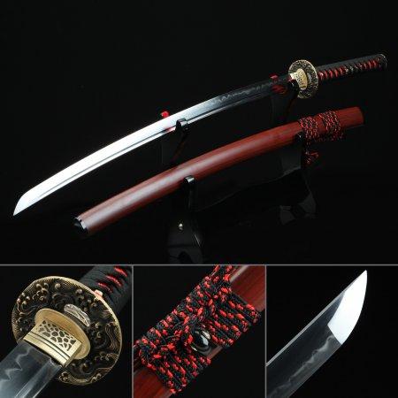 Handmade T10 Carbon Steel Authentic Hamon Japanese Katana Samurai Sword With Rosewood Scabbard