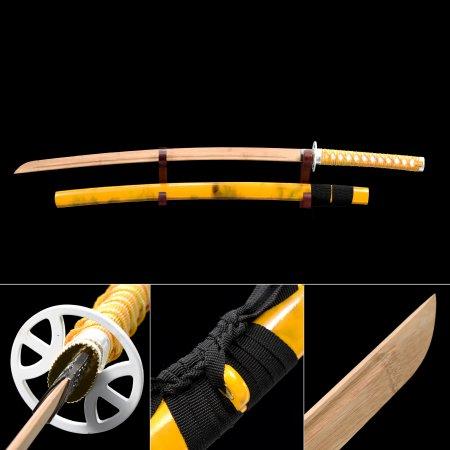 Handmade Natural Bamboo Wooden Blade Unsharpened Katana Sword With Yellow Scabbard And Alloy Tsuba