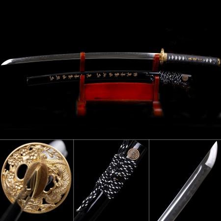 Handmade T10 Carbon Steel Flower Tsuba Real Hamon Katana Samurail Swords