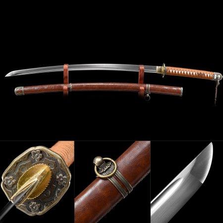 Handmade High Manganese Steel Japanese Samurai Katana Sword With Black Scabbard And Flower Tsuba