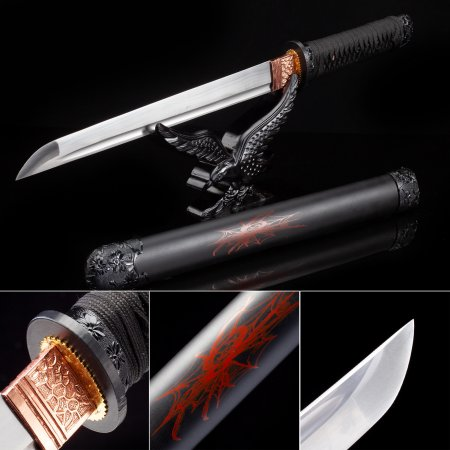 Handmade High Manganese Steel Real Japanese Hamidashi Tanto Sword With Black Scabbard