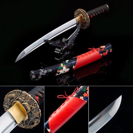 Handmade Pattern Steel Real Short Katana Japanese Tanto Swords With Copper Tsuba