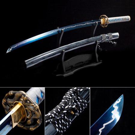 Handmade Japanese Katana Sword High Manganese Steel With Blue Blade And Snake Tsuba