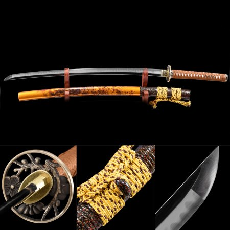 Handmade T10 Carbon Steel Flower Tsuba Real Japanese Samurai Katana Swords With Yellow Scabbard