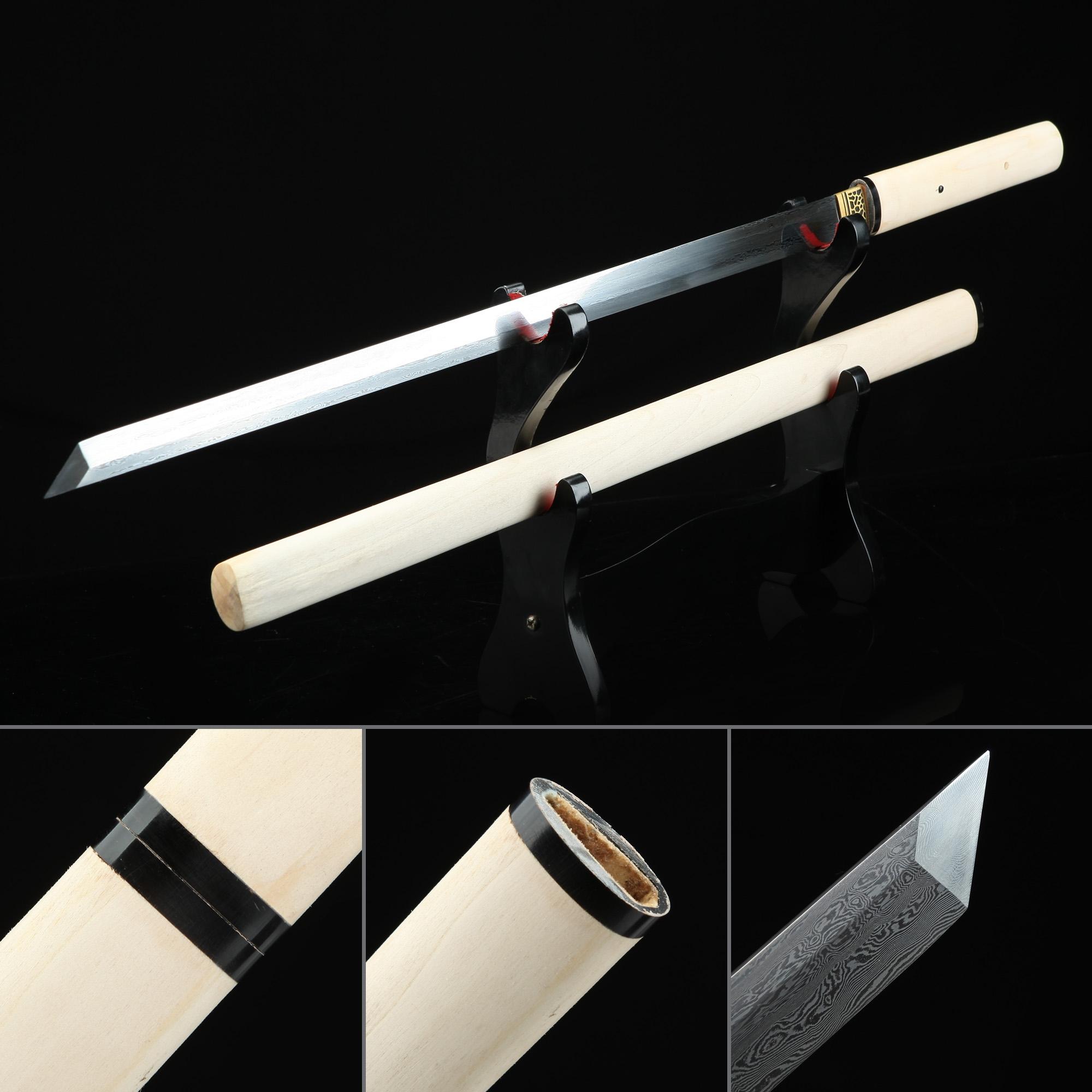High-performance Pattern Steel Japanese Ninjato Shikomizue Blind Fury Stick Swords Without Tsuba