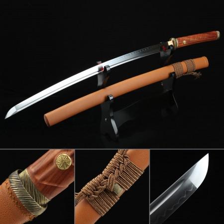 Handmade T10 Steel Brown Theme Real Japanese Katana Samurai Swords With Leather Saya