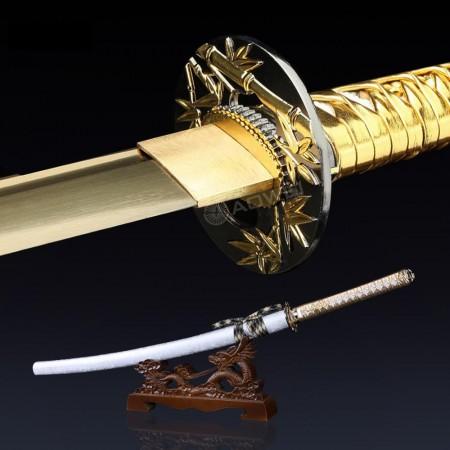 Golden Blade Katana, Handmade Japanese Katana Sword With Bamboo Style Tsuba