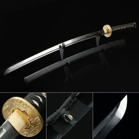 Real Cooper Tsuba Carbon Steel Black Katana Japanese Samurai Swords