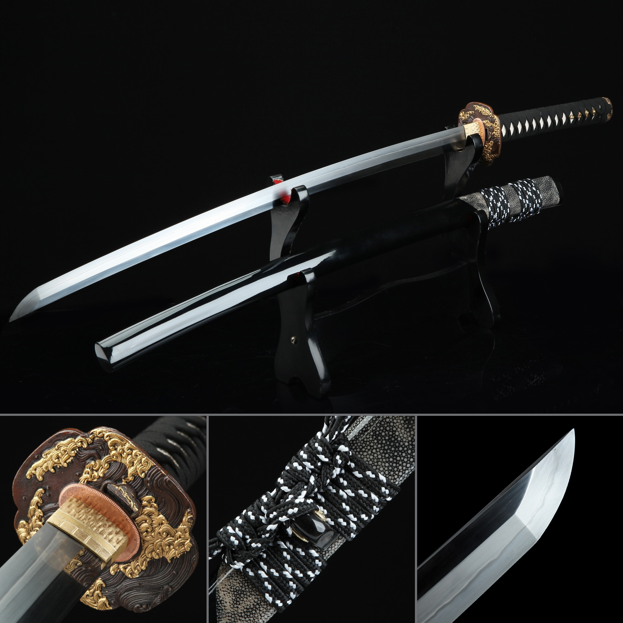 Battle Ready Sword, Authentic Japanese Katana T10 Carbon Steel Hand Forge Real Hamon Tactical Swords