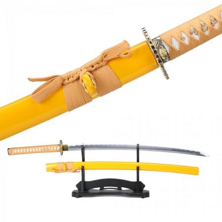 Handmade Japanese Katana Sword 1045 Carbon Steel With Yellow Scabbard