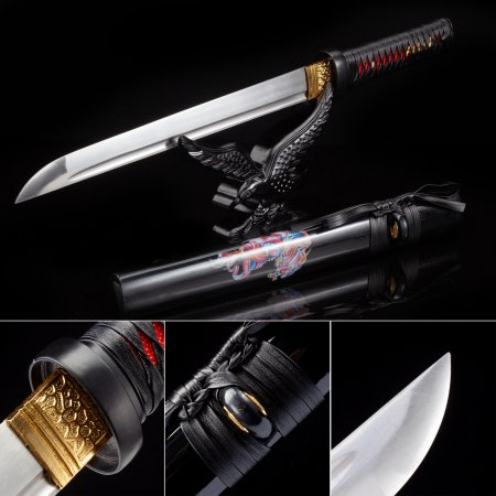 Handmade High Manganese Steel Japanese Hamidashi Tanto Sword With Black Scabbard