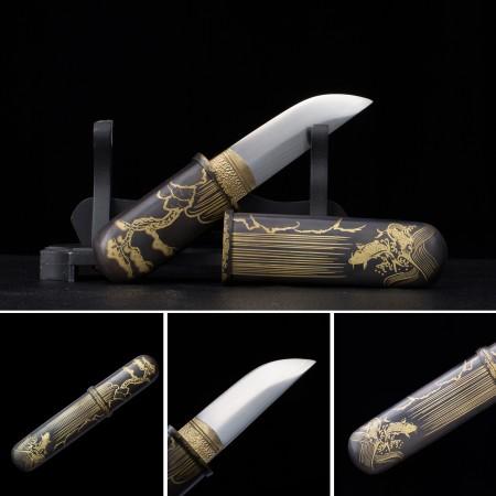 Handmade High Manganese Steel Koi Theme Short Japanese Aikuchi Pocket Tanto Knife
