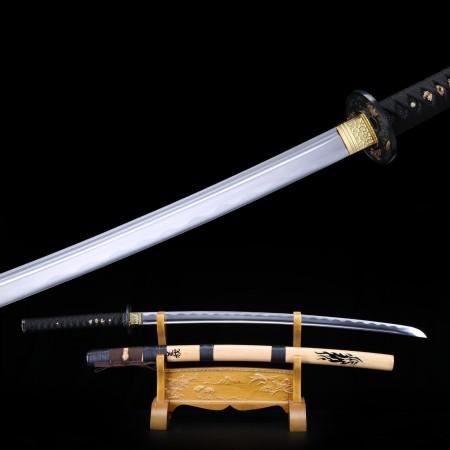Handmade Carbon Steel Katana Japanese Samurai Swords With Natural Wood Scabbard