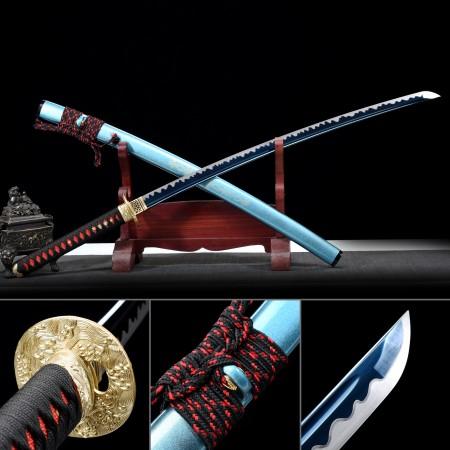Smuarai Sword, Handmade Japanese Samurai Sword 1060 Carbon Steel With Blue Blade And Scabbard