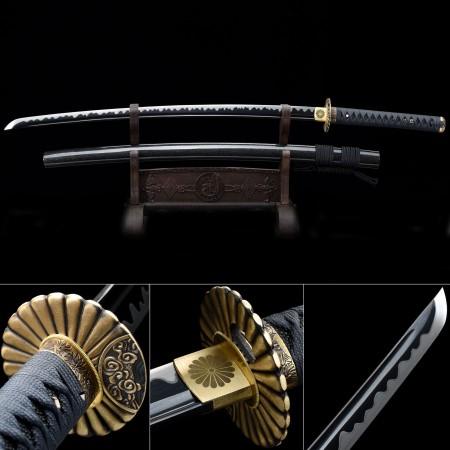 Handmade High Manganese Steel Sunflower Tsuba Full Tang Real Katana Samurai Swords