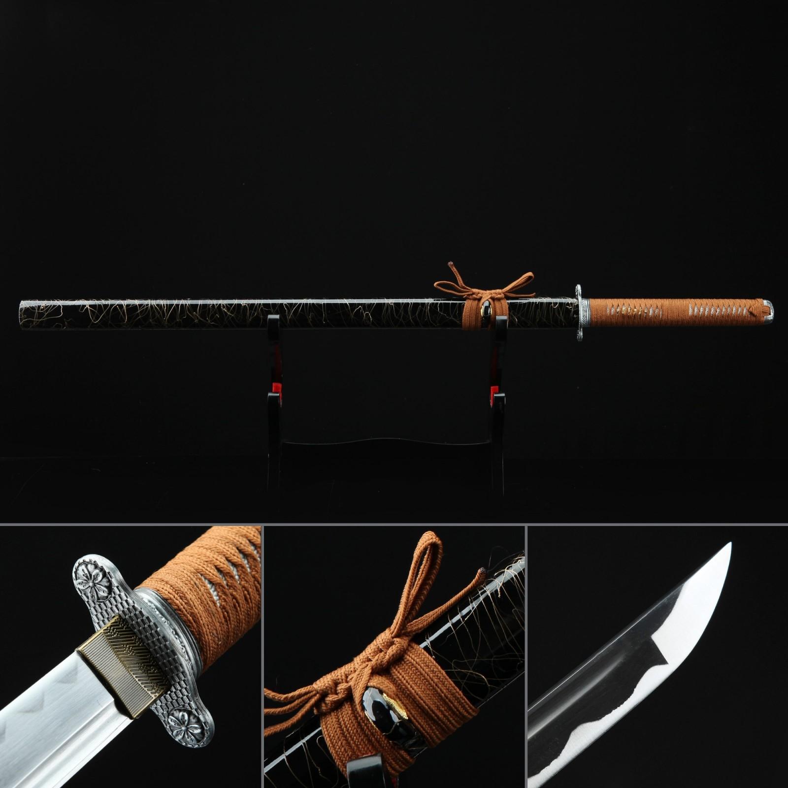 Silver Sakura Tsuba Theme Handmade Straight Katana Real Ninjato Ninja Swords