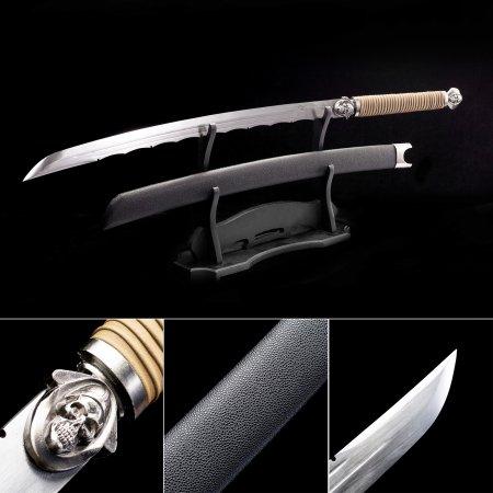 Handmade High Manganese Steel Japanese Katana Samurai Swords With Black Leather Scabbard