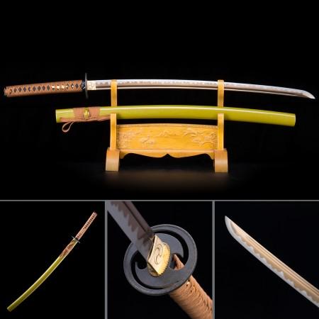 Handmade High Manganese Steel Yellow Saya And Round Tsuba Real Japanese Katana Samurai Swords