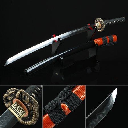 High-performance T10 Carbon Steel Authentic Hamon Japanese Katana Sword With Black Scabbard