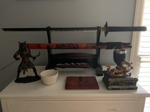 Handmade 1045 Carbon Steel Black Blade Japanese Ninjato Ninja Swords With Dragon Square Guard Tsuba