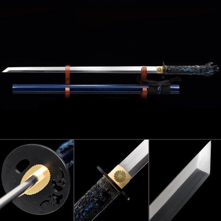 Handmade High Manganese Steel Straight Blade Japanese Ninjato Ninja Sword With Blue Scabbard