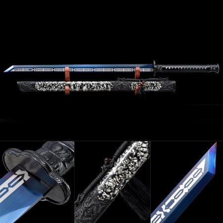 Handmade Spring Steel Blue Blade Real Japanese Ninjato Ninja Sword With Black Scabbard