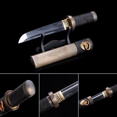 Handmade T10 Carbon Steel Real Hamon Japanese Short Hamidashi Tanto Swords With Copper Scabbard