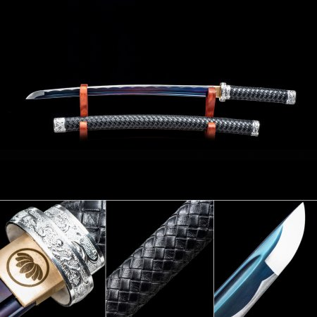 Handmade High Manganese Steel Rainbow Blade Real Japanese Wakizashi Sword With Black Scabbard