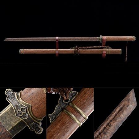Handmade Wooden Blade Unsharpened Ninjato Samurai Ninja Sword With Natural Scabbard