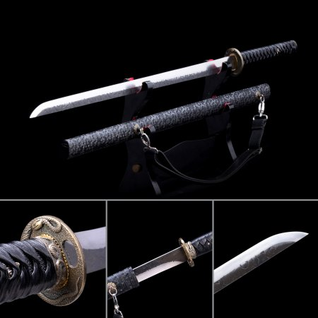 Handmade Stainless Steel Straight Blade Chokuto Japanese Ninjato Ninja Swords With Black Scabbard