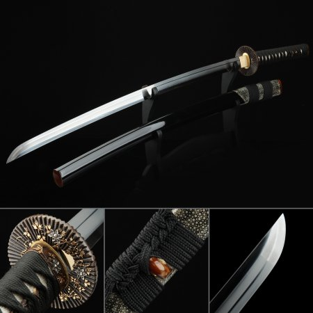 Handmade Gold Sunflower Tsuba Real Katana Japanese Samurai Swords With Black Scabbard