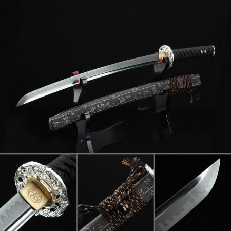 Short Katana, Handmade Japanese Wakizashi Sword T10 Carbon Steel With Black Scabbard