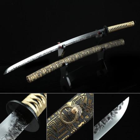 Hand Forged Sword, Handmade Japanese Katana Swords With Bronze Totem Theme Leather Saya
