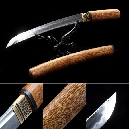 Handmade T10 Carbon Steel Real Hamon Japanese Shirasaya Tanto Swords With Natural Scabbard