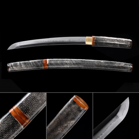 High-performance T10 Carbon Steel Real Hamon Japanese Aikuchi Tanto Sword With Gray Scabbard