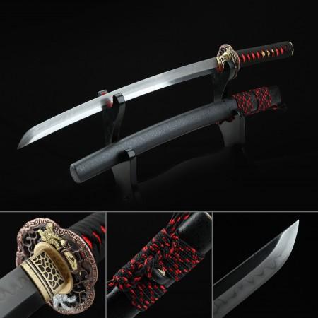 Short Katana, Handmade Wakizashi Sword T10 Folded Clay Tempered Steel With Flower Tsuba