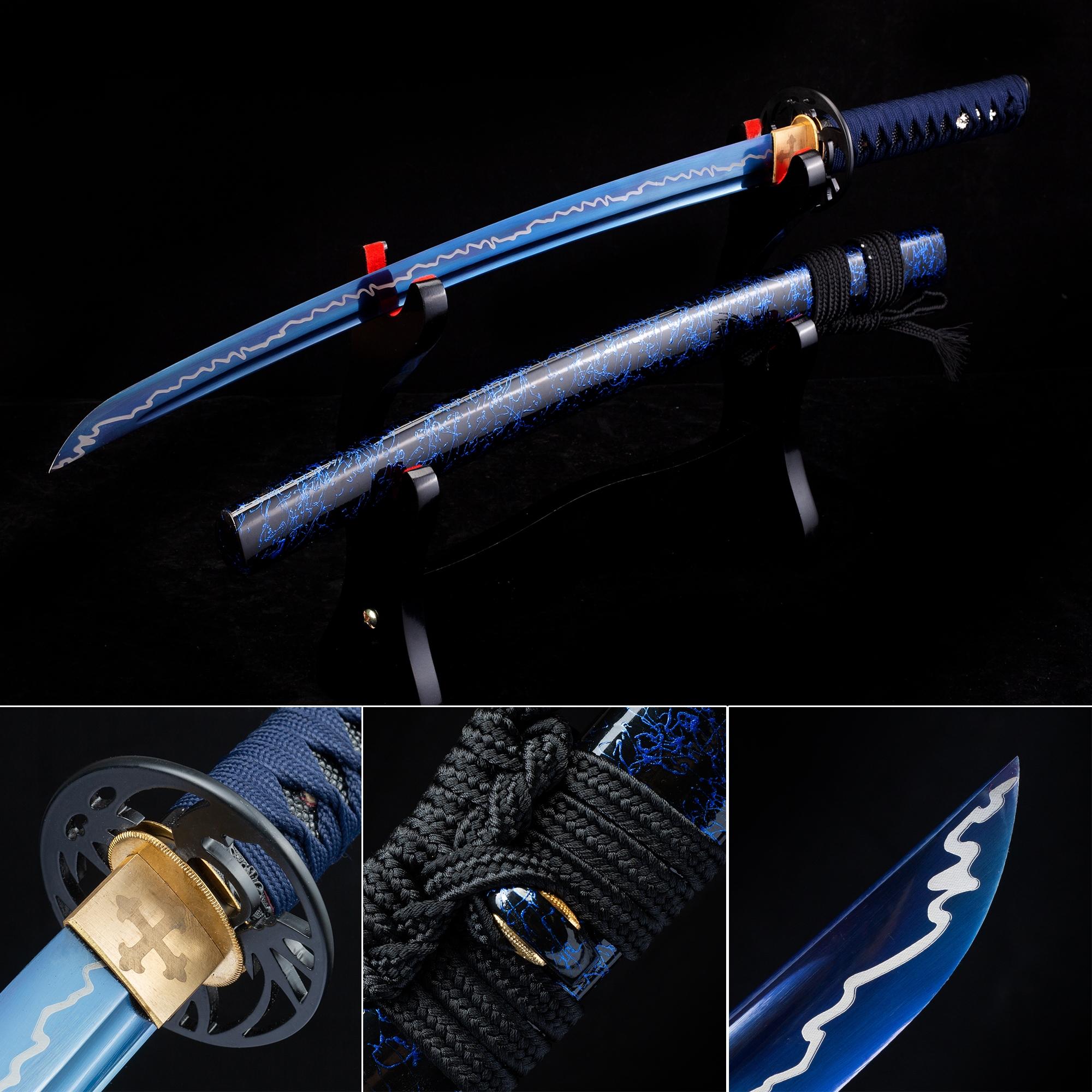 Handmade High Manganese Steel Blue Blade Japanese Wakizashi Swords With Blue Scabbard