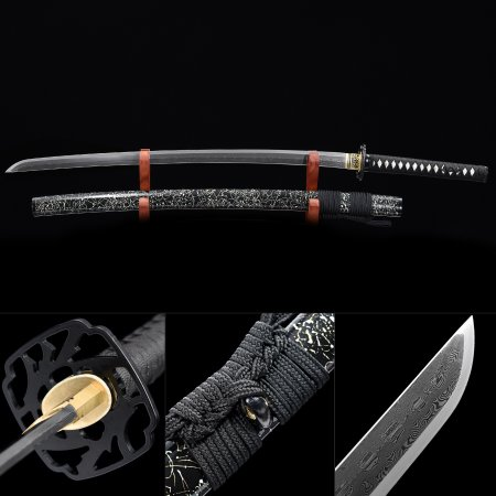 Authentic Japanese Samurai Sword 1000 Layer Folded Steel With Black Scabbard