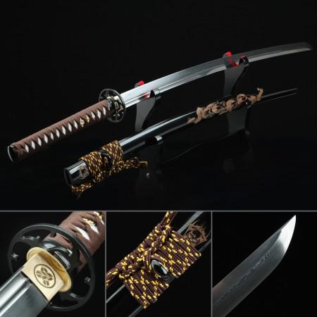 Handmade Pattern Steel Full Tang Real Japanese Katana Samurai Swords With Black Dragon Scabbard