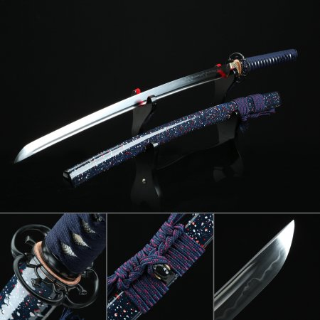 Authentic Japanese Katana Sword T10 Folded Clay Tempered Steel With Blue Scabbard