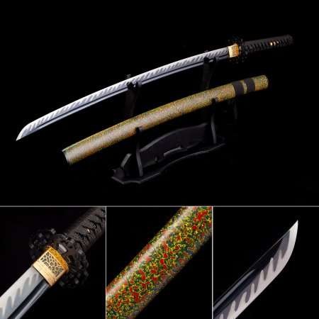 Handmade High Manganese Steel Black Blade Japanese Katana Samurai Swords With Multi-colored Scabbard