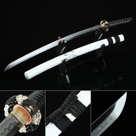 High-performance T10 Carbon Steel Real Hamon Japanese Katana Samurai Sword With White Scabbard