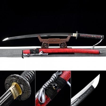 Handmade T10 Carbon Steel Real Hamon Japanese Katana Samurai Swords With Red Scabbard