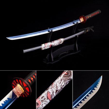 Handmade Japanese Katana Sword High Manganese Steel With Blue Blade And Black Scabbard