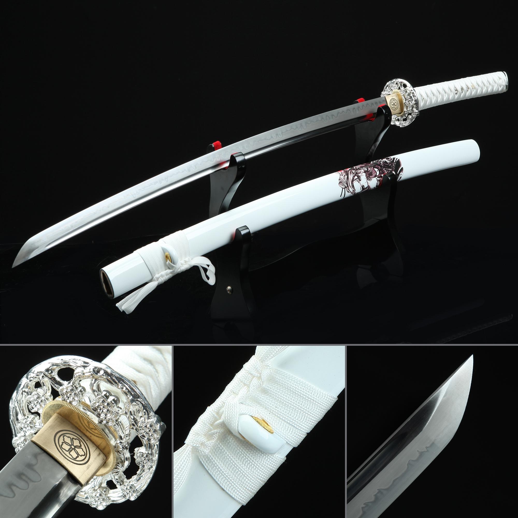White Katana, Real Hamon Japanese Katana Sword T10 Folded Clay Tempered Steel With White Scabbard
