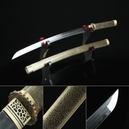 High-performance Pattern Steel Real Hamon Japanese Wakizashi Sword With Bronze Scabbard