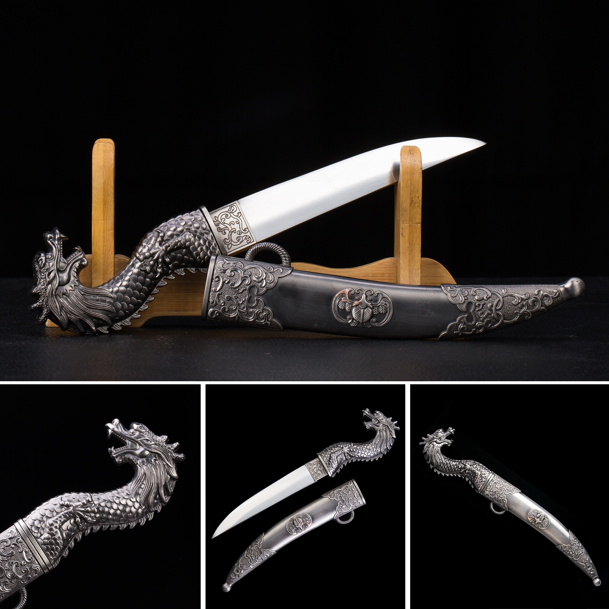 Handmade High Manganese Steel Gold Dragon Theme Short Japanese Aikuchi Pocket Tanto Knife